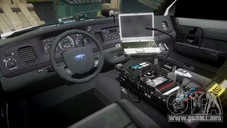 Ford Crown Victoria Unmarked Police [ELS] para GTA 4 vista hacia atrás