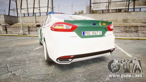 Ford Mondeo 2014 Guardia Civil Cops [ELS] para GTA 4 Vista posterior izquierda