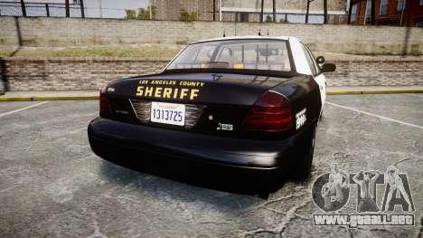 Ford Crown Victoria LASD [ELS] Slicktop para GTA 4 Vista posterior izquierda