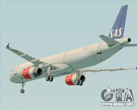 Airbus A321-200 Scandinavian Airlines System para vista inferior GTA San Andreas