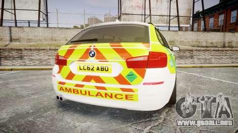 BMW 530d F11 Ambulance [ELS] para GTA 4 Vista posterior izquierda
