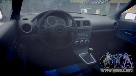 Subaru Impreza WRX STI para GTA 4 vista hacia atrás