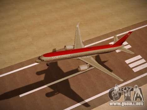 Boeing 757-251 Northwest Airlines para GTA San Andreas vista hacia atrás