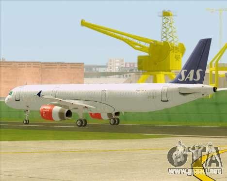 Airbus A321-200 Scandinavian Airlines System para la vista superior GTA San Andreas