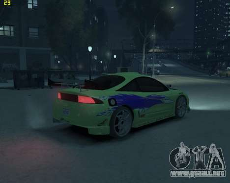 Mitsubishi Eclipse from Fast and Furious para GTA 4 Vista posterior izquierda
