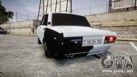 ВАЗ-2107 Avtosh Estilo para GTA 4 Vista posterior izquierda