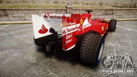 Ferrari F138 v2.0 [RIV] Alonso TFW para GTA 4 Vista posterior izquierda