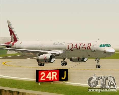 Airbus A321-200 Qatar Airways para vista inferior GTA San Andreas