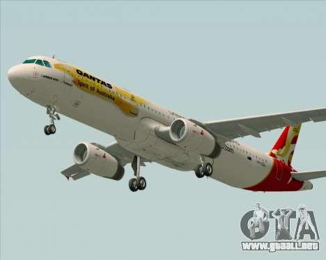 Airbus A321-200 Qantas (Wallabies Livery) para GTA San Andreas vista hacia atrás