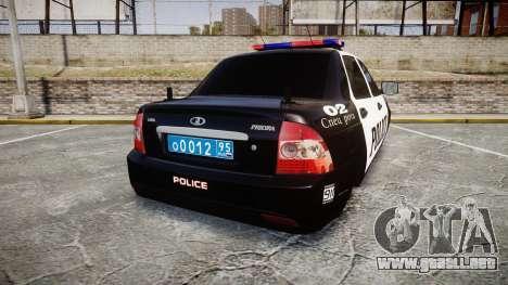 VAZ-2170 Priora Police para GTA 4 Vista posterior izquierda
