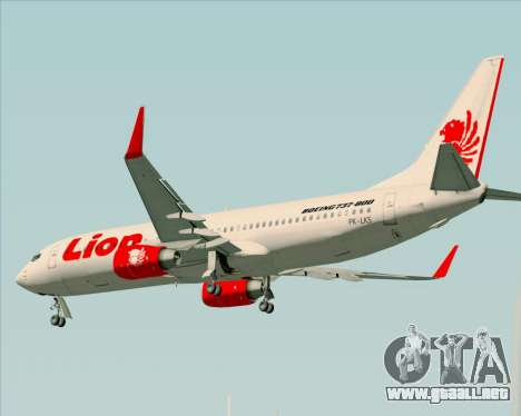 Boeing 737-800 Lion Air para vista inferior GTA San Andreas