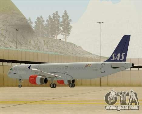 Airbus A321-200 Scandinavian Airlines System para GTA San Andreas vista posterior izquierda