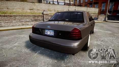 Ford Crown Victoria Unmarked Police [ELS] para GTA 4 Vista posterior izquierda