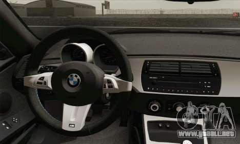 BMW Z4M Coupe 2008 Stock para GTA San Andreas vista posterior izquierda