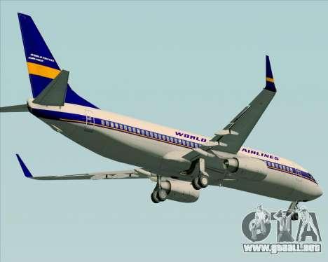 Boeing 737-800 World Travel Airlines (WTA) para visión interna GTA San Andreas