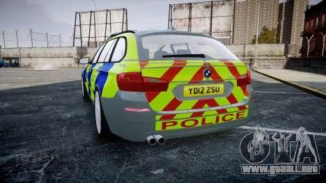 BMW 530d F11 Metropolitan Police [ELS] SEG para GTA 4 Vista posterior izquierda