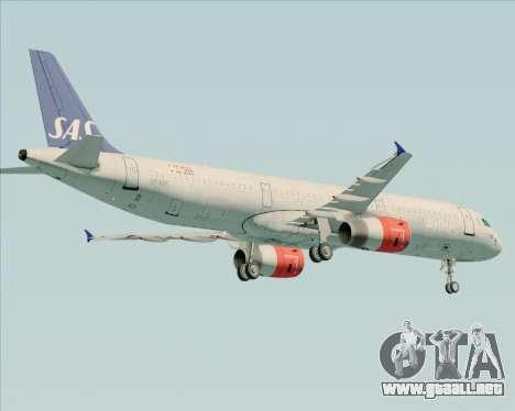 Airbus A321-200 Scandinavian Airlines System para GTA San Andreas vista hacia atrás