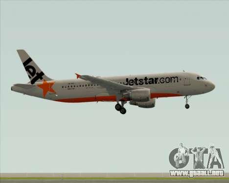 Airbus A320-200 Jetstar Airways para GTA San Andreas vista posterior izquierda