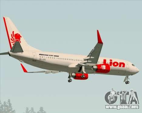 Boeing 737-800 Lion Air para GTA San Andreas vista hacia atrás