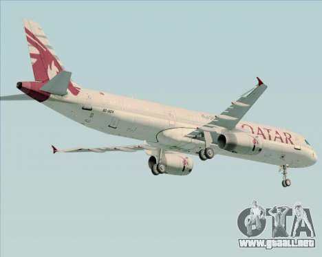 Airbus A321-200 Qatar Airways para GTA San Andreas vista hacia atrás