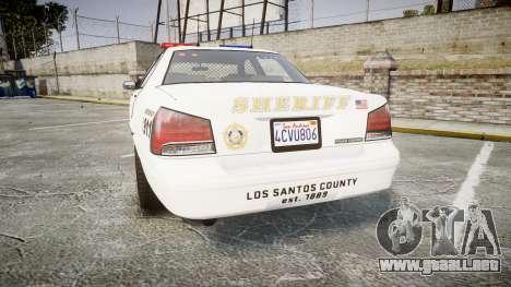 GTA V Vapid Cruiser LSS White [ELS] para GTA 4 Vista posterior izquierda