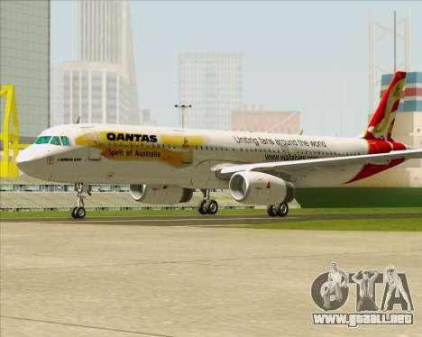 Airbus A321-200 Qantas (Wallabies Livery) para GTA San Andreas vista posterior izquierda