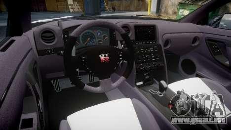 Nissan GT-R R35 Nismo para GTA 4 vista hacia atrás