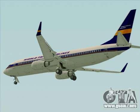 Boeing 737-800 World Travel Airlines (WTA) para GTA San Andreas vista posterior izquierda