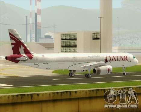 Airbus A321-200 Qatar Airways para GTA San Andreas vista posterior izquierda