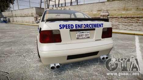 Declasse Merit Police Patrol Speed Enforcement para GTA 4 Vista posterior izquierda