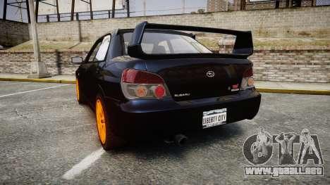 Subaru Impreza WRX STI para GTA 4 Vista posterior izquierda