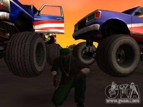 Nuevas texturas de las ruedas de Monster para GTA San Andreas vista posterior izquierda