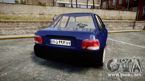 Kia Pride 132 SE para GTA 4 Vista posterior izquierda