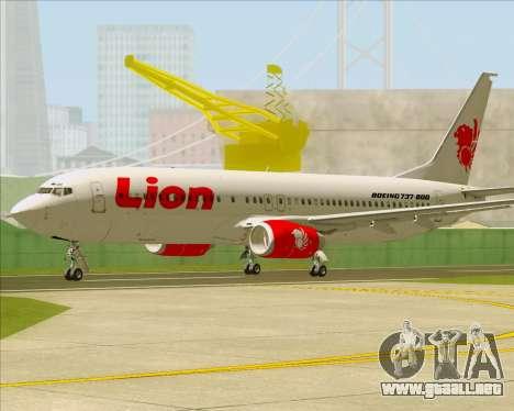 Boeing 737-800 Lion Air para GTA San Andreas vista posterior izquierda