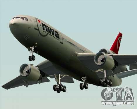 McDonnell Douglas DC-10-30 Northwest Airlines para GTA San Andreas vista hacia atrás