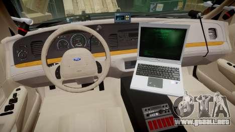 Ford Crown Victoria LASD [ELS] Slicktop para GTA 4 vista hacia atrás