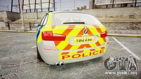 BMW 530d F11 Metropolitan Police [ELS] para GTA 4 Vista posterior izquierda
