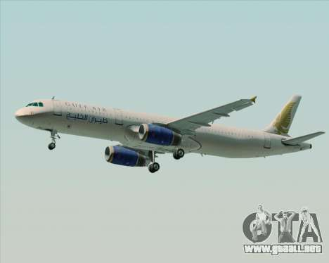 Airbus A321-200 Gulf Air para GTA San Andreas vista hacia atrás