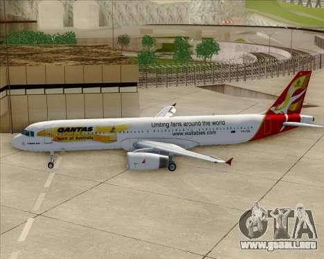 Airbus A321-200 Qantas (Wallabies Livery) para vista inferior GTA San Andreas