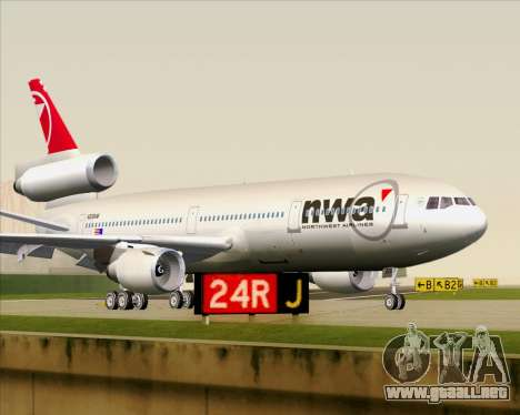 McDonnell Douglas DC-10-30 Northwest Airlines para GTA San Andreas left