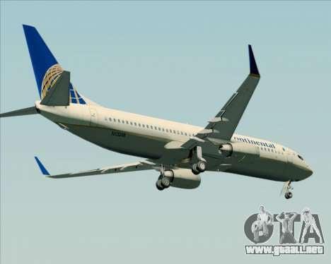 Boeing 737-800 Continental Airlines para GTA San Andreas vista hacia atrás