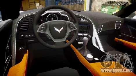 Chevrolet Corvette Z06 2015 TireBFG para GTA 4 vista interior