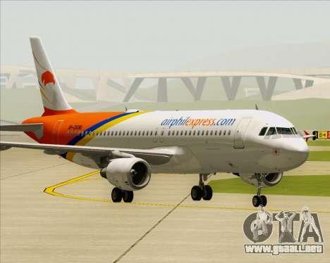 Airbus A320-200 Airphil Express para GTA San Andreas vista posterior izquierda