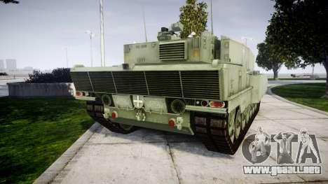 Leopard 2A7 PT Green para GTA 4 Vista posterior izquierda