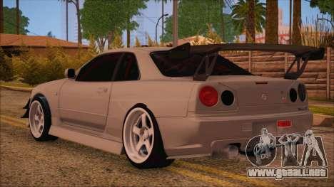 Nissan Skyline R34 GTR V-Spec 2 para GTA San Andreas left
