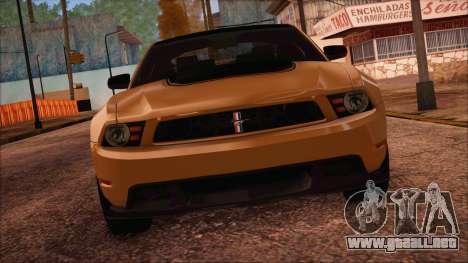 Ford Mustang Boss 302 2012 para GTA San Andreas vista posterior izquierda