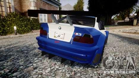 BMW M3 E46 GTR Most Wanted plate NFS para GTA 4 Vista posterior izquierda