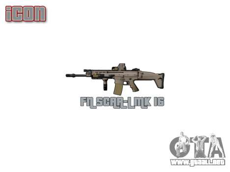 Máquina FN CICATRIZ-L Mc 16 icon3 para GTA 4 tercera pantalla