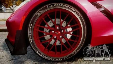 Chevrolet Corvette Z06 2015 TireMi2 para GTA 4 vista hacia atrás