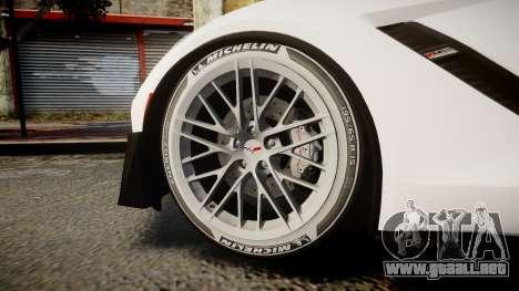 Chevrolet Corvette Z06 2015 TireMi3 para GTA 4 vista hacia atrás
